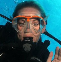 Our owner, Eva Rasmussen, underwater in Cozumel.
