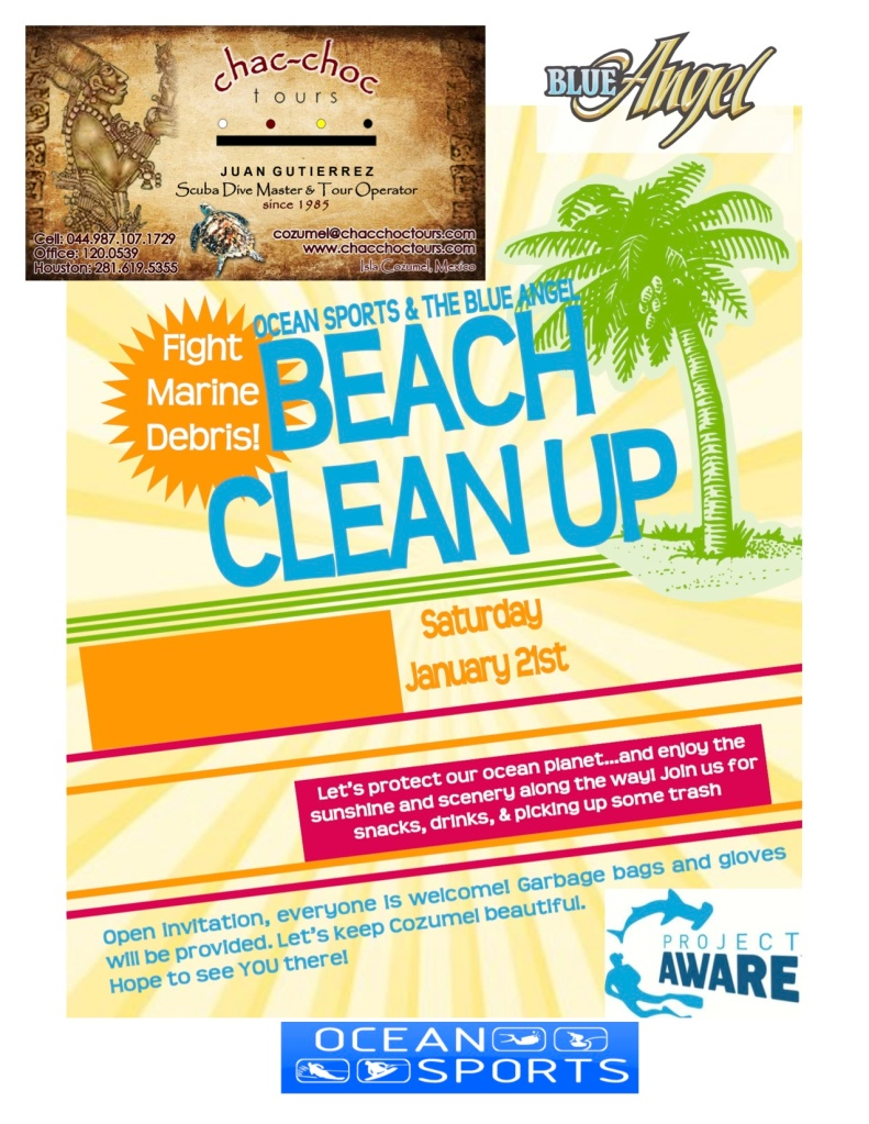 Blue Angel Scuba School beach clean up poster, January 2012