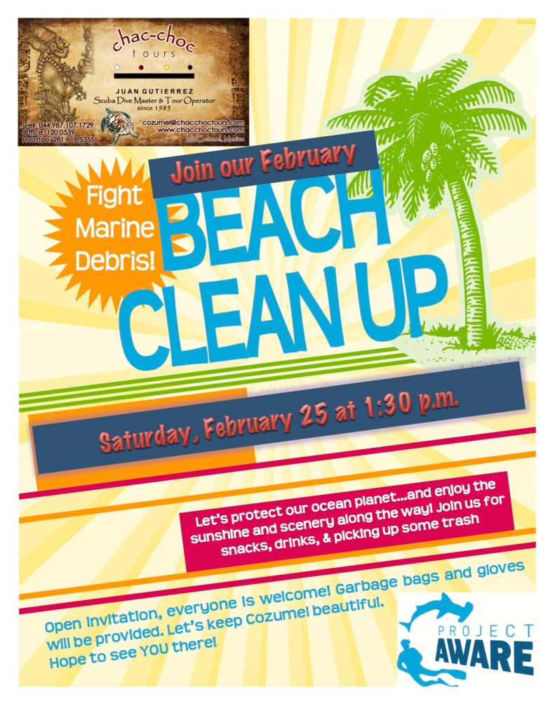 Blue Angel Scuba School beach clean up poster, February 2012