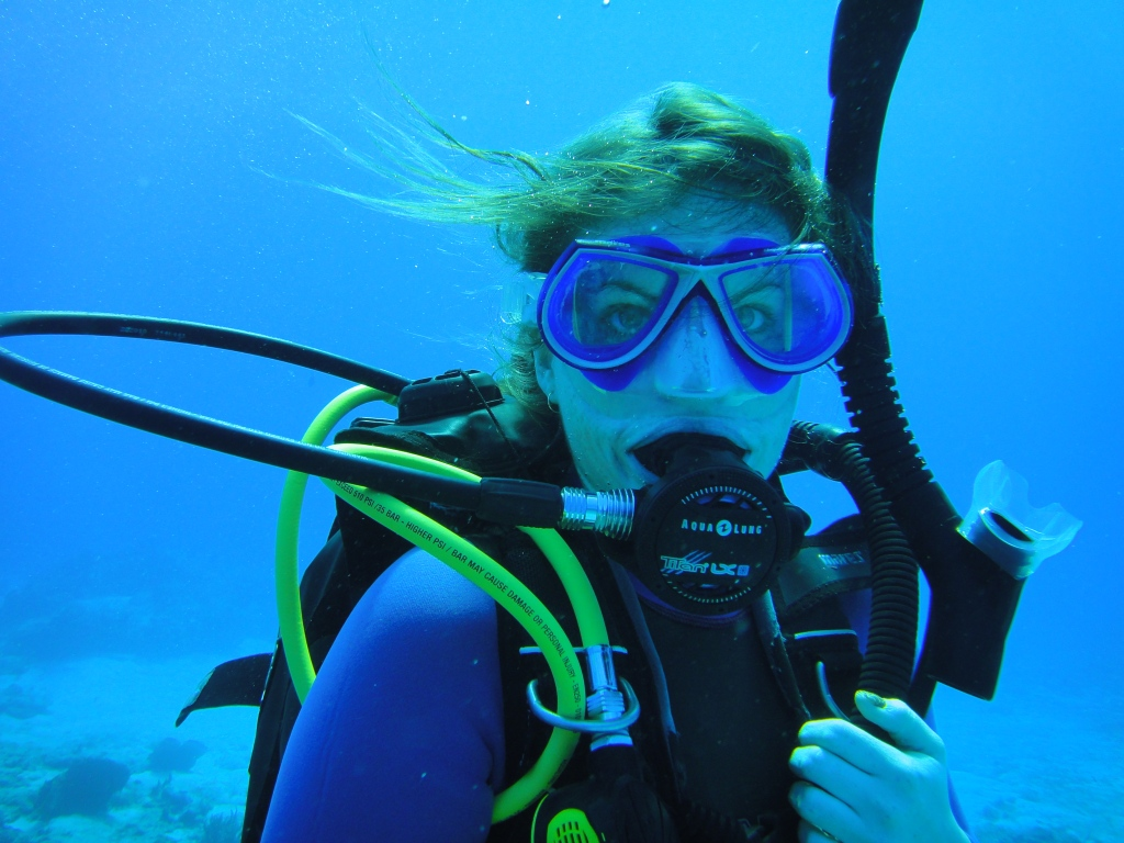 Blue Angel Scuba School open water student, with Kari Taylor Atkins