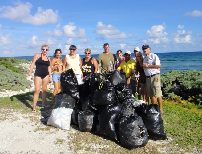 beach cleanup crew, cozumel mexico