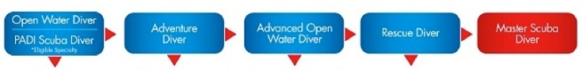 open water to master scuba diver PADI flowchart image